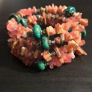 😻HP 😻Rhodochrosite & turquoise bracelet